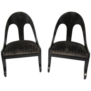 Pair of Spoon Back Modern Chairs For Sale