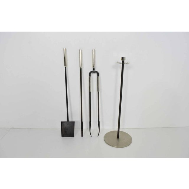 Modern Tuell & Reynolds Fireplace Tool Set For Sale - Image 3 of 6