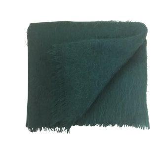 Italian Pine/Emerald Green Mohair Throw Blanket For Sale