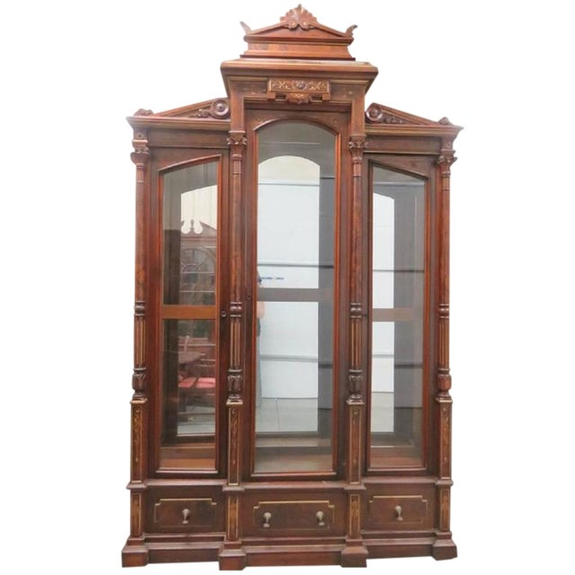 Magnificent Monumental Victorian Renaissance Style Bookcase Curio For Sale