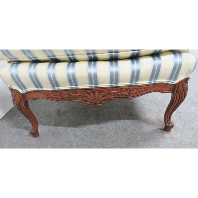 Late 20th Century Louis XV Style Walnut Wing Chair For Sale - Image 5 of 8