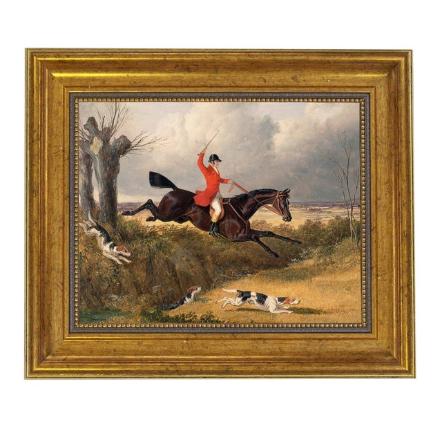 Traditional Clearing the Ditch Fox Hunting Horse Framed Oil Painting Print on Canvas For Sale
