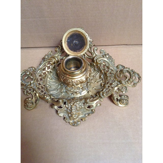 Baroque Late 1800's Brass Inkwell in Ornate Base For Sale - Image 3 of 7