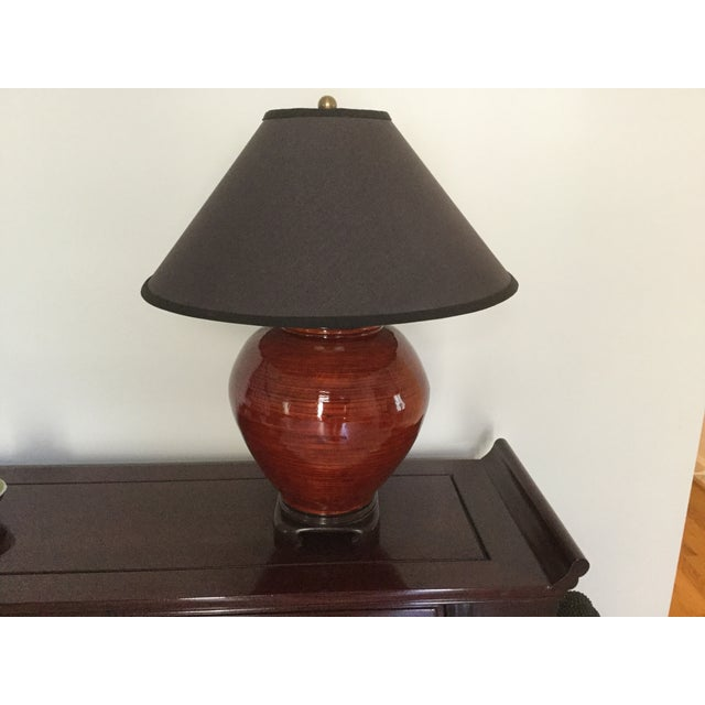 Gumps Red Bamboo Table Lamp - Image 2 of 5