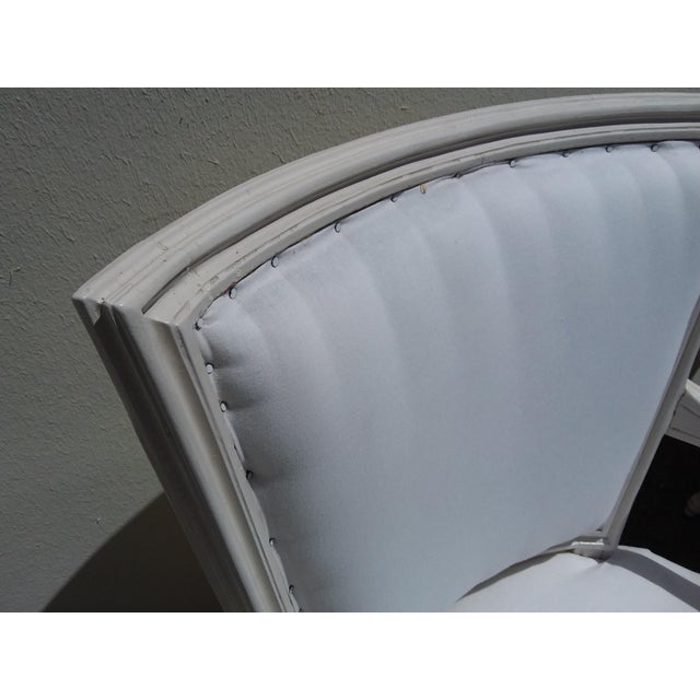 French Style White Arm Chairs - A Pair For Sale - Image 4 of 11