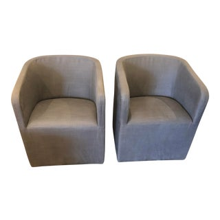 Restoration Hardware Gray Barrelback Chairs- A Pair For Sale
