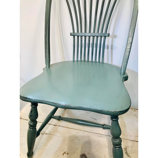 1970s 1970s Vintage Celedon Painted Windsor Chair For Sale - Image 5 of 7
