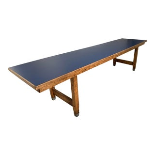 Vintage Long School Science Table For Sale