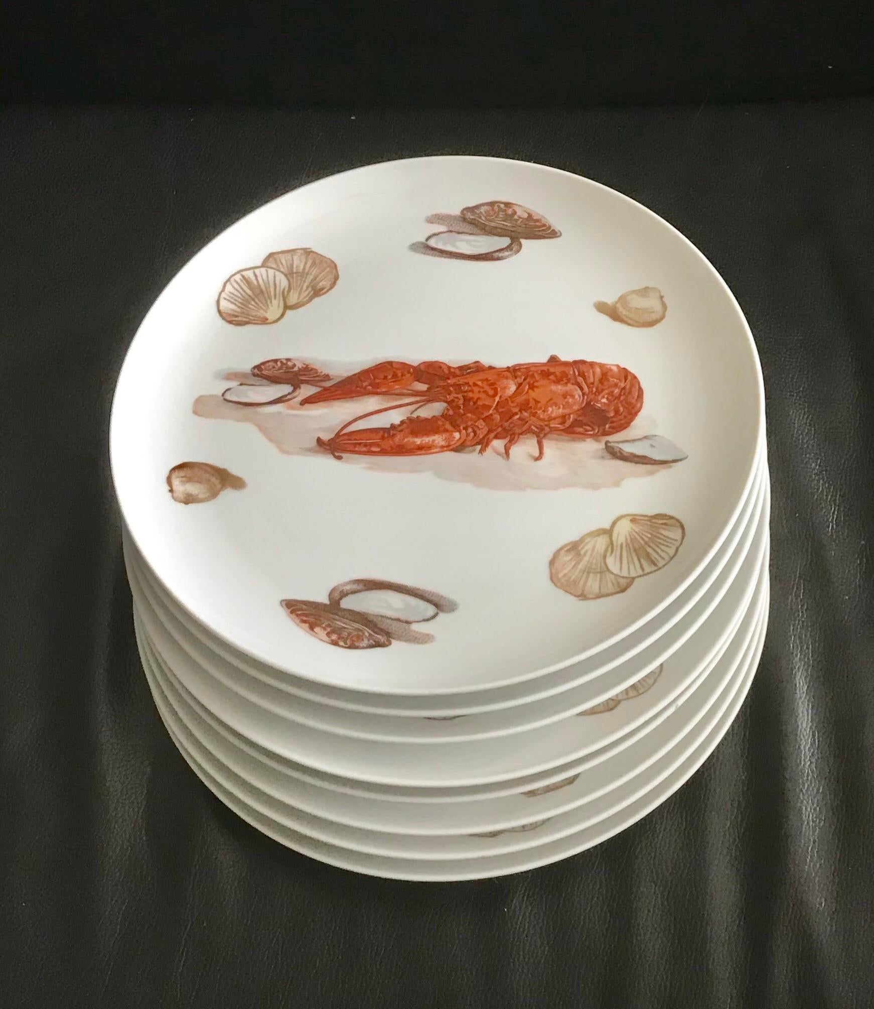 Japanese Lobster u0026 Clam Dinner Plates - Set of 8 - Image 5 ...  sc 1 st  Chairish : lobster dinner plates - pezcame.com