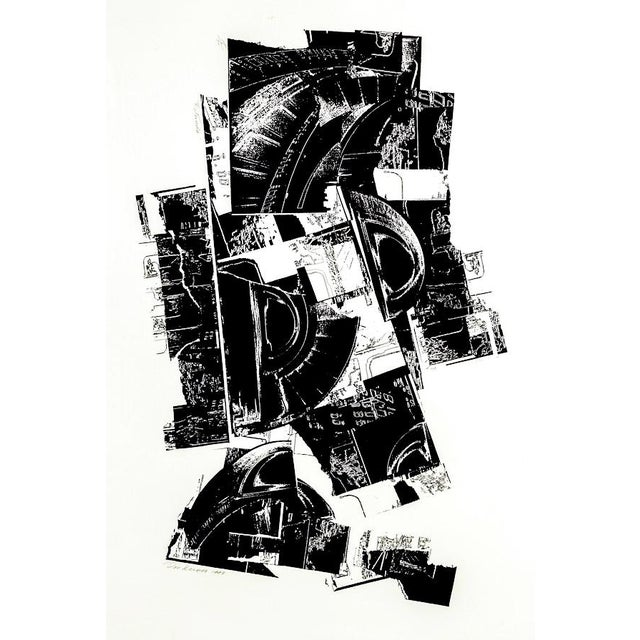 A lithograph on paper titled Rotunda by Don Werner (1929-2010). The piece depicts Brutalist styled black forms printed on...