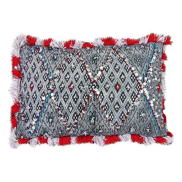 One-of-a-kind Moroccan pillow sham handwoven by the Berbers of the High Atlas Mountains. Featuring an ornate Berber...