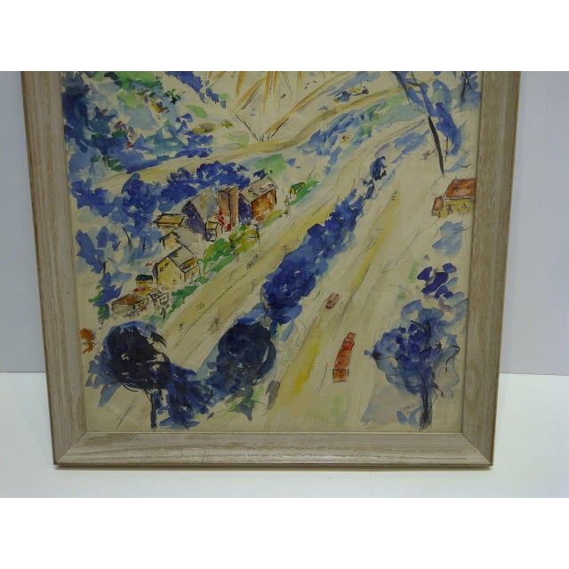 """1950s 1958 Americana Framed Original Painting, """"North Side of Pittsburgh"""" by S. Gottlieb For Sale - Image 5 of 11"""
