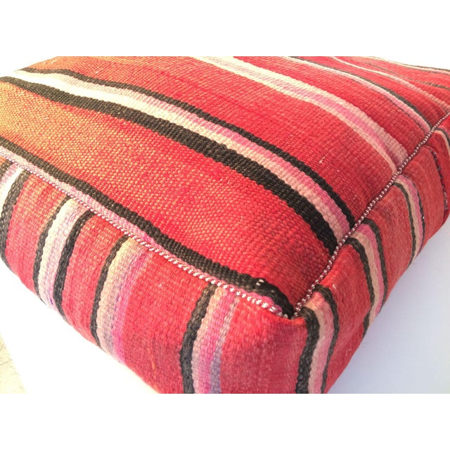 Boho Chic Red Moroccan Kilim Floor Pillow #2 For Sale - Image 3 of 5