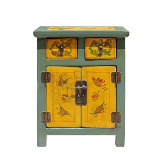 Chinese Oriental Distressed Yellow Gray Butterflies End Table Nightstand For Sale