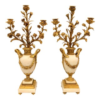 Pair Antique French Bronze d'Ore Carrara Marble Candelabra, Circa 1880. For Sale
