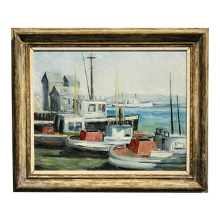 John Earle Coolidge - Boats at the La Harbor 1935 - Oil Painting For Sale