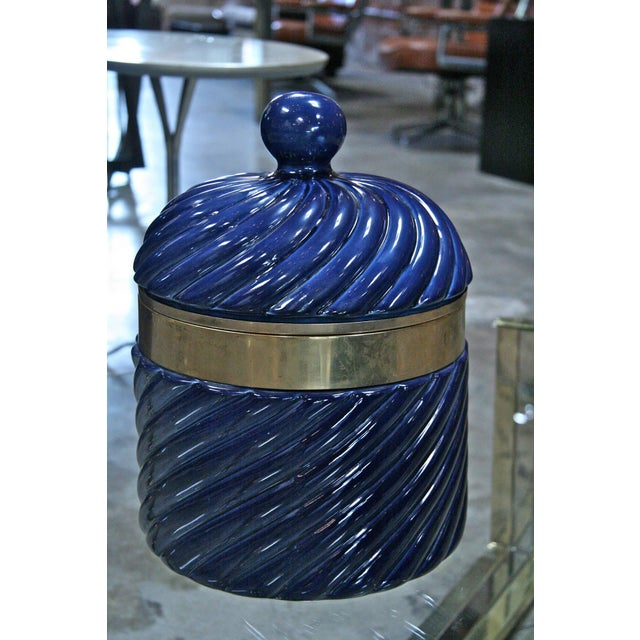 Traditional Ice Bucket in Blue Ceramic and Brass by Tommaso Barbi For Sale - Image 3 of 8