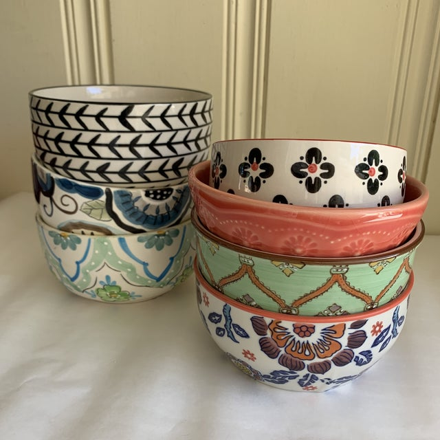 Eclectic Patterned Cottage Farmhouse Bowls, Set of Seven For Sale - Image 10 of 11