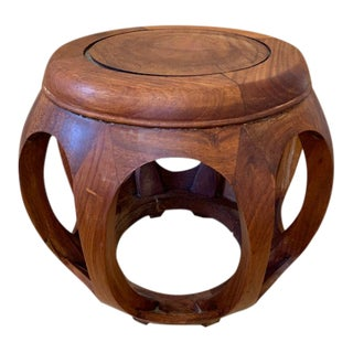 Mid Century Asian Rosewood Garden Stool For Sale