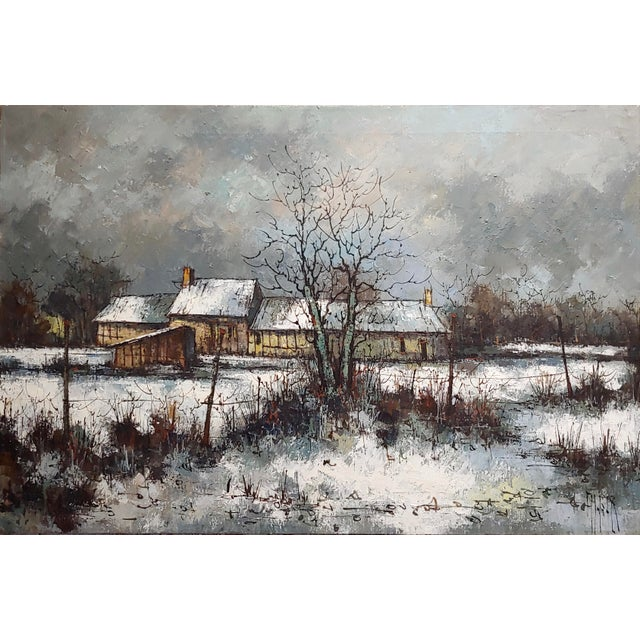 Farmhouse 1970s Cottage Oil Painting, Winter Countryside Landscape by Aldo Luongo For Sale - Image 3 of 10