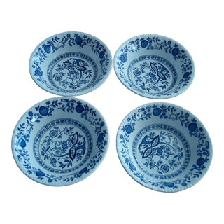 """Vintage Enoch Wedgwood """"Blue Onion"""" Tuns Blue Heritage Bowls, England - Set of 4 For Sale"""