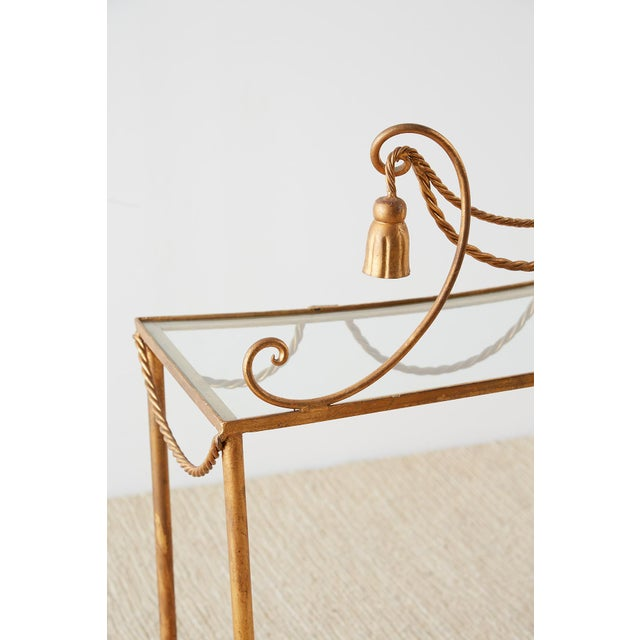 Hollywood Regency Gilt Iron and Faux Rope Vanity For Sale In San Francisco - Image 6 of 13