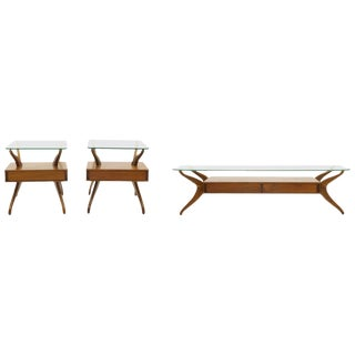 Sculptural Coffee Table and Two End Tables For Sale