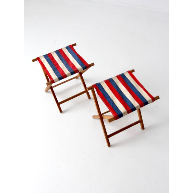 Vintage Striped Camp Stools - Set of 2 For Sale - Image 4 of 10