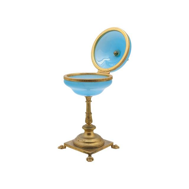 Charming translucent opaline box on a cast bronze pedestal base for your bedside or vanity. One of a kind.