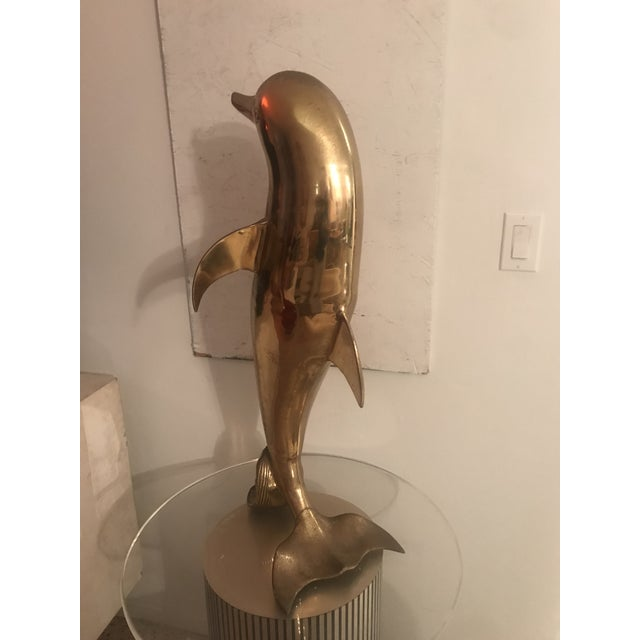Hollywood Regency 1970s Vintage Large Brass Dolphin Sculpture For Sale - Image 3 of 6
