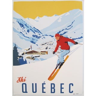 2019 Modern Retro Travel Poster - Ski Quebec For Sale