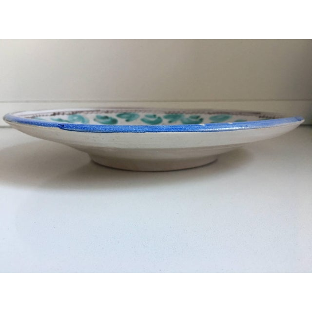 20th century midcentury blue and green ceramic dish or plate.