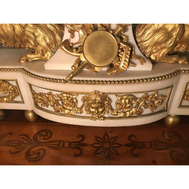 French Elegant 18th Century French Ormolu Marble Clock and Garniture For Sale - Image 3 of 10
