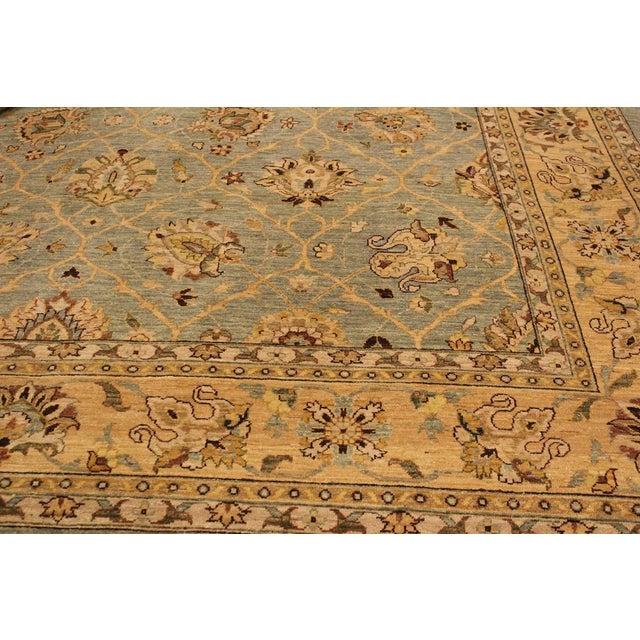 Textile Kafkaz Peshawar Lashon Lt. Blue/Tan Hand-Knotted Rug - 9'1 X 12'2 For Sale - Image 7 of 8