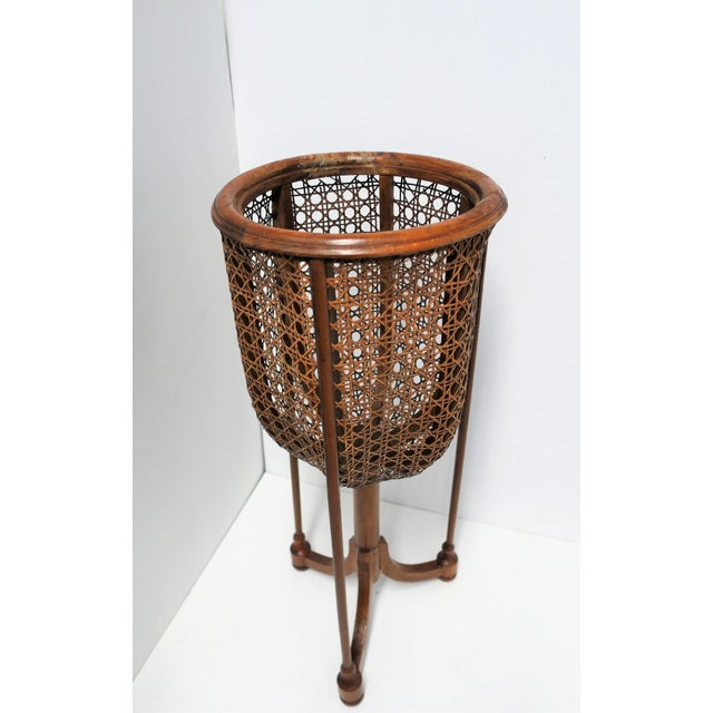 Mid-Century Modern Vintage Wicker Cane Plant Stand For Sale - Image 3 of 13