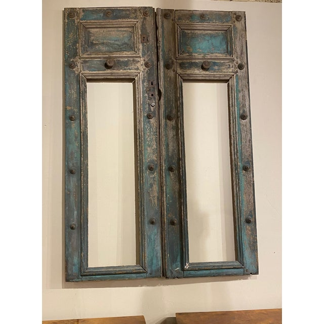 Wood 19th Century French Blue Doors - a Pair For Sale - Image 7 of 8