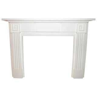 Restored 19th C. Greek Revival White Primed Fireplace Mantel For Sale