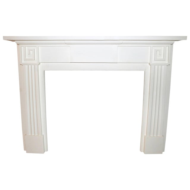 Restored 19th C. Greek Revival White Primed Fireplace Mantel Mantle For Sale