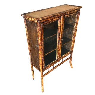 Restored Aesthetic Movement Tiger Bamboo Breakfront Cabinet For Sale