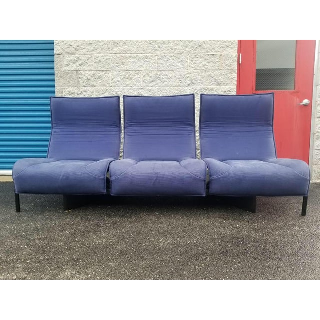 Vintage Mid Century Modern Vico Magistretti for Cassina Blue Three Seat Veranda Sofa- 3 Pieces For Sale - Image 11 of 11