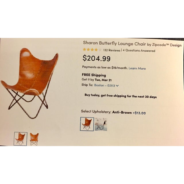 Tan Leather Butterfly Chair - Image 4 of 4