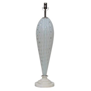 Vintage Murano Opaline Glass Table Lamp White For Sale