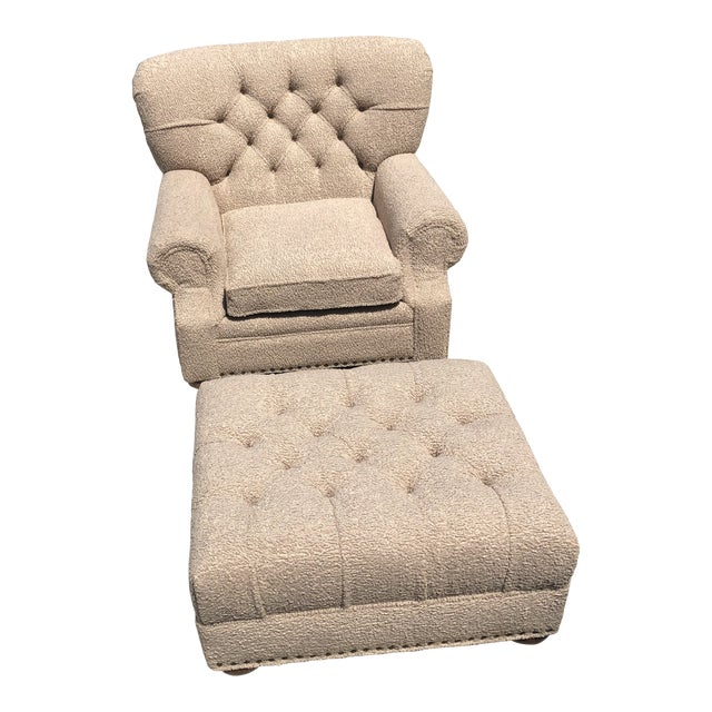 Ralph Lauren Style Tufted Library Chair With Ottoman - 2 Pieces For Sale