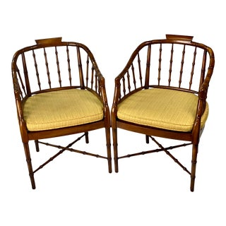 Vintage Regency Style Faux Bamboo Barrel Back Chairs - a Pair For Sale