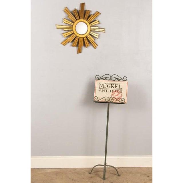 French Vintage Giltwood Sunburst Mirror, 1950s For Sale - Image 4 of 8