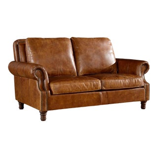 Crafters and Weavers Light Brown Leather English Rolled Arm Love Seat For Sale