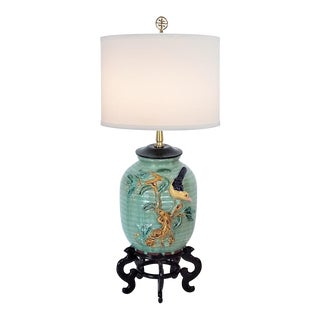 1960s Chinoiserie Celadon Lamp For Sale