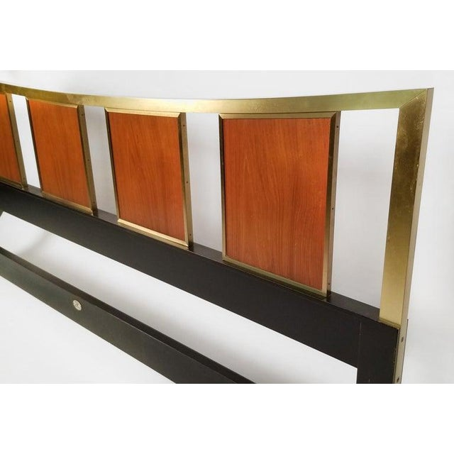 1950s Brass King Size Headboard With Framed Teak Panels Designed by Michael Taylor for Baker For Sale - Image 5 of 6