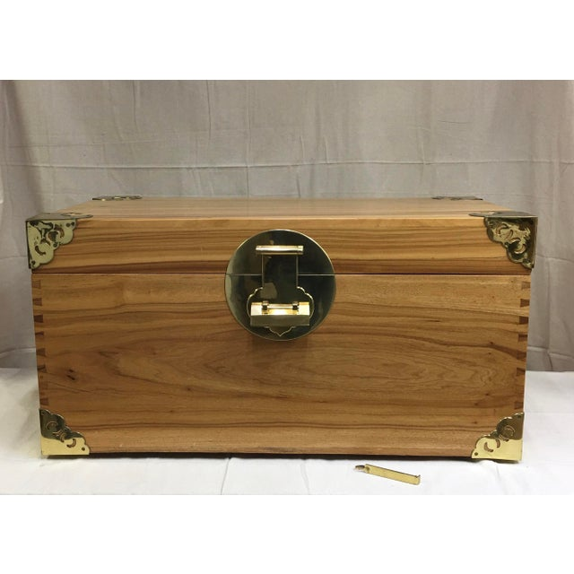 1920s Antique Chinese Brass Trimmed Camphor Wood Chest For Sale - Image 13 of 13