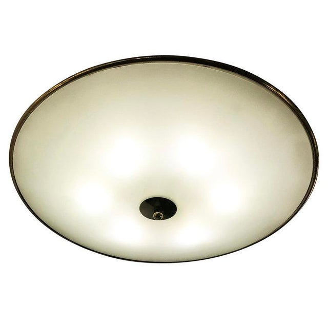 Fontana Arte 1940s Italian Large Flush Mount Fixture Attributed to Pietro Chiesa For Sale - Image 4 of 5